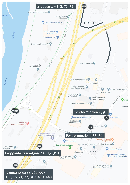 kart med ny holdeplass og snarvei